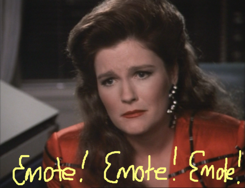 Captain Janeway really pulls out the big hair this episode, just FYI.